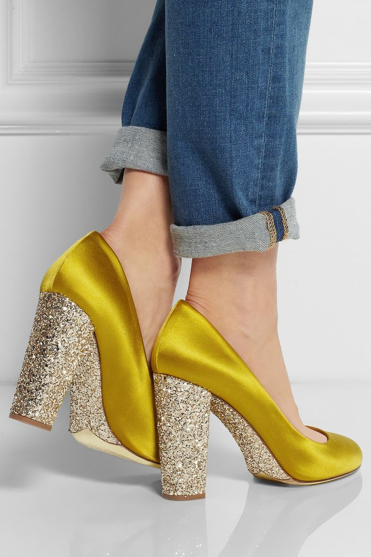 """J.CREW Collection Etta glitter-embellished satin pumps $300 Heel measures approximately 90mm/ 3.5 inches. J.Crew describes its chartreuse 'Etta' pumps as """"heels for the girl who only wears flats"""" - the gold glitter-covered heel is supportive and the sole is cushioned for comfort. This pair has been crafted in Italy from satin with a soft leather interior."""