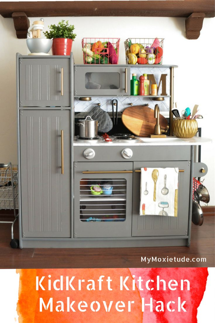 Hack Your Way Into This KidKraft Play Kitchen Makeover http://www.mymoxietude.com/kidkraft-play-kitchen-makeover/?utm_campaign=coschedule&utm_source=pinterest&utm_medium=Heather%20%7C%20My%20Moxietude&utm_content=Hack%20Your%20Way%20Into%20This%20KidKraft%20Play%20Kitchen%20Makeover