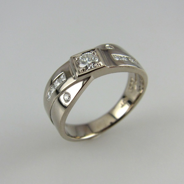 18ct White Gold and Diamond Cross Over Ring   Geoff Taylor Goldsmith