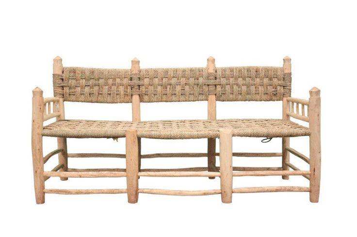 Banco de mimbre - Conely | Puertas de madera, metal y forja, rústicas, artesanales. Decoración.