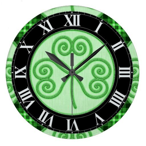 Green and Black Plaid Shamrock Wall Clock