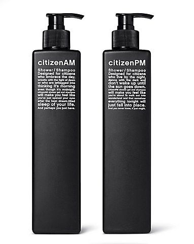 citizen AM/PM minimalistic packaging design in black and white shampoo | Design: Vlamboyant |