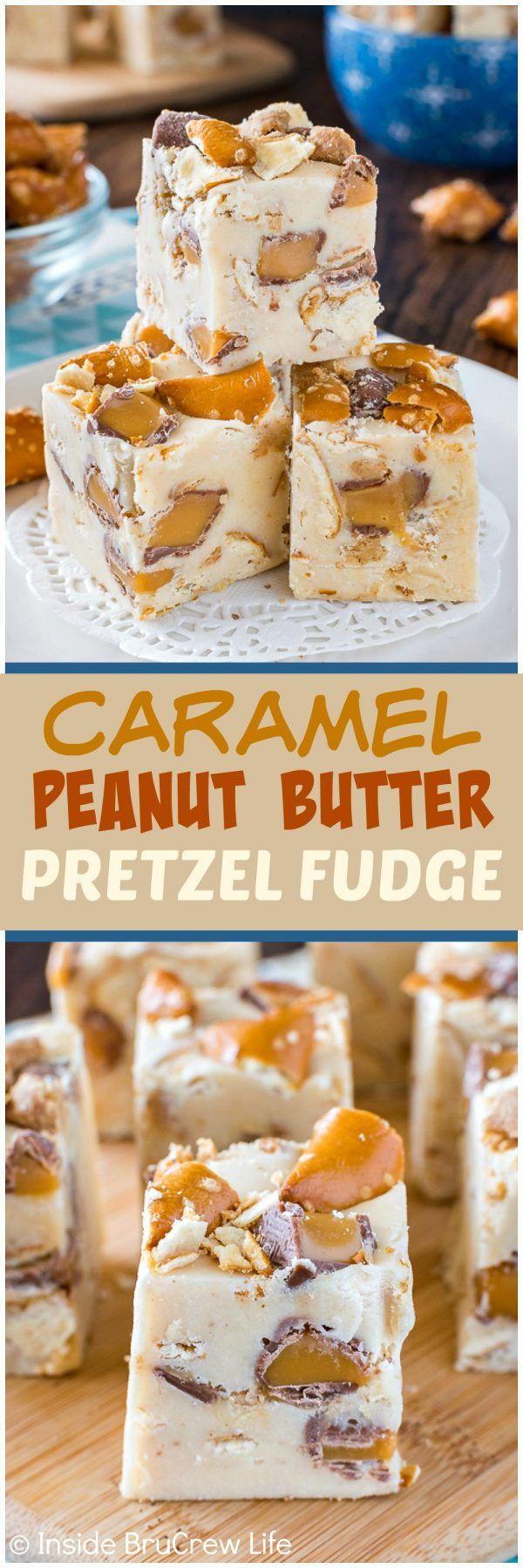 Caramelo de mantequilla de maní Fudge pretzel - remolinos de las barras de caramelo y galletas saladas dentro de un maní dulce de azúcar de la mantequilla cremosa añadir una diversión crujido!  Gran hay una receta de pasteles postre que está listo en cuestión de minutos!