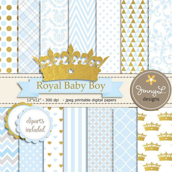 Gold Crown Digital papers and Clipart, Royal Prince Boy Baby Shower, Birthday Blue Birth Announcement, Scrapbooking Paper Party Theme