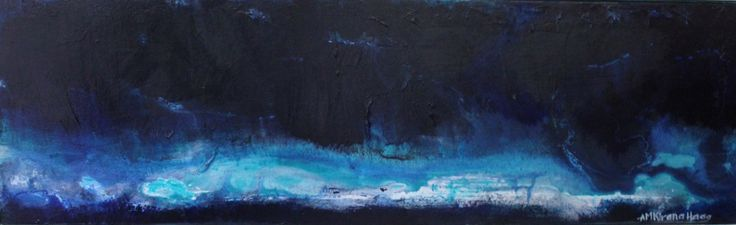 """Deep breath of royal blue""; 27cm x 85cm; Mixed Media on Belgian linen"