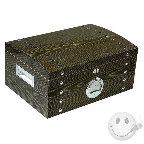 A Beautifully Crafted Humidor For A Larger Collection. Silver Studded And  Finished In High Gloss