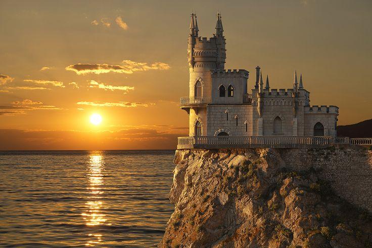 Swallow's Nest castle on the rock, Gaspra, Crimea, Russia