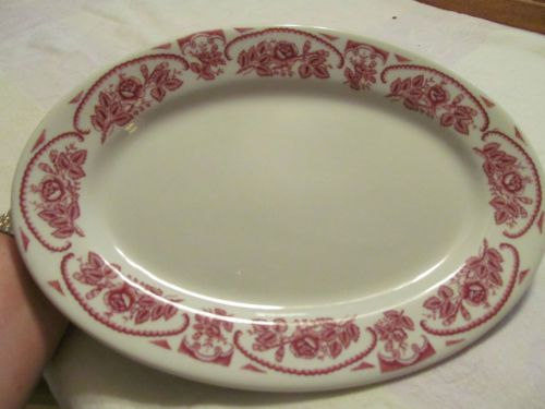 "Caribe China Puerto Rico White with Red Roses 11"" Oval Platter Restaurant Ware 