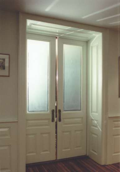 pocket doors | Pocket Doors with Etched Glass and Wall Panels