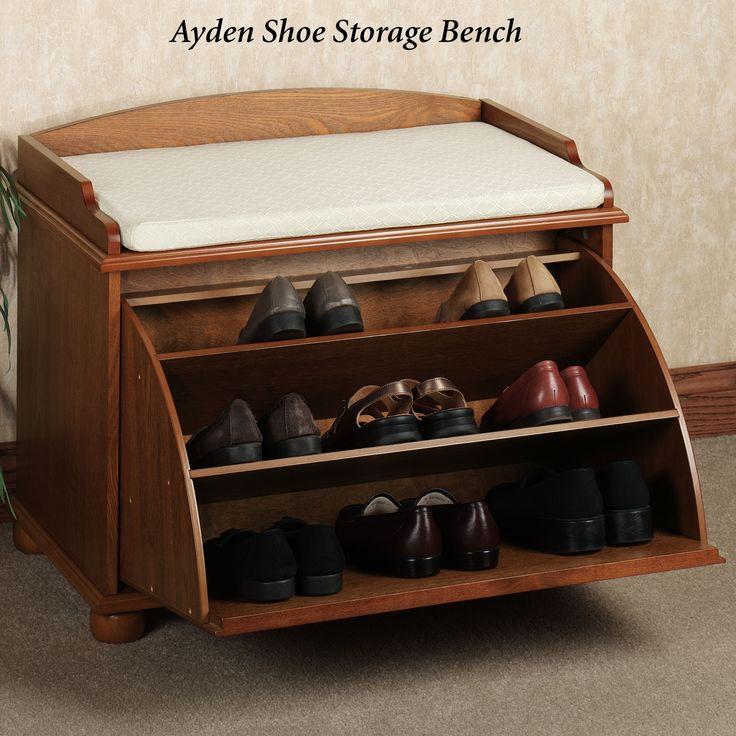 brown wooden bench with pull out shoes racks and rectangle white puff on grey rug adorable ideas of garage shoe rack to spruce up your shoes collection