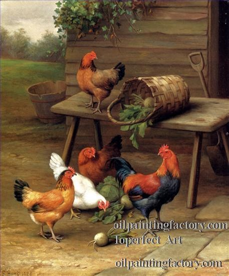 """Chickens --Poultry in a BarnYard Oil Painting       Toperfect Art supplies art sale in wholesale price directly from our talent artists, you may purchase """"paintings of 5 Poultry In A Barnyard farm animals Edgar Hunt"""" as oil painting, acrylic painting, watercolor painting, and other artwork medias such as gouache drawings, wax crayon, pencil sketch, pastel paintings and charcoal drawings."""