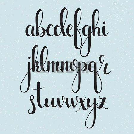 Handwritten brush style modern calligraphy cursive font. Calligraphy alphabet. Cute calligraphy letters. Isolated letters. For postcard or poster decorative graphic design. photo