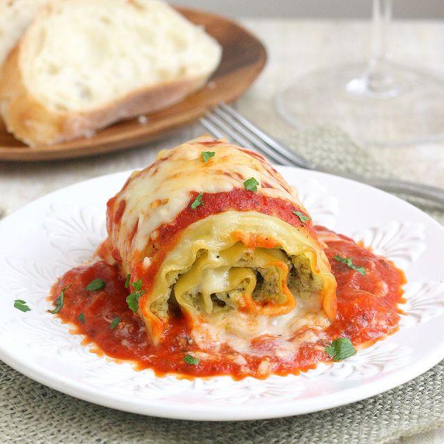Chicken Pesto Lasagna Rolls by traceysculinaryadventures #Lasagna #Chicken #Pesto