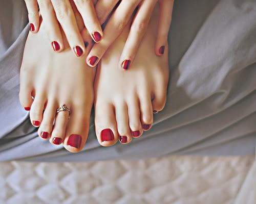Dark red or burgundy nails or toenails.
