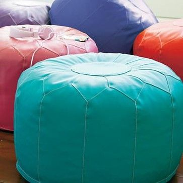 Kids Aqua Blue Faux Leather Pouf Ottoman - mediterranean - kids chairs - The Land of Nod