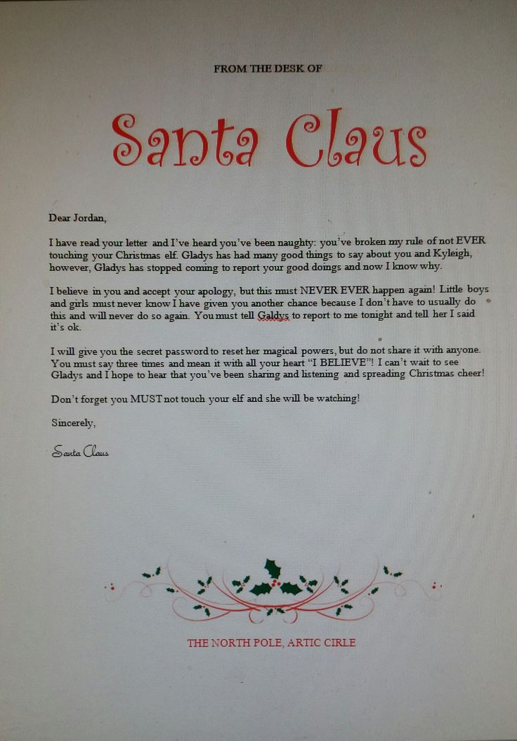Santas Response Letter To My Son For Touching His Elf On