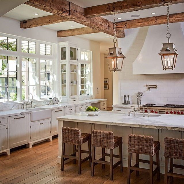 "298 Likes, 19 Comments - Chez Pluie Provence (@chezpluie) on Instagram: ""Antique lanterns add a touch of rustic elegance to this French style kitchen. Recreate this look…"""