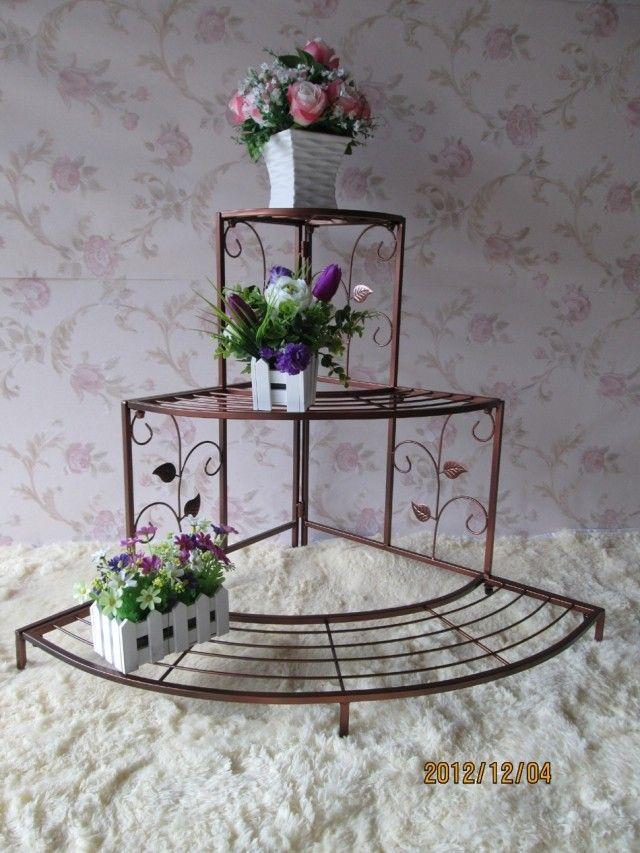 Continental Iron flower indoor living room with floor-to-three plant pots rack shelf storage rack shelf multi-bonsai