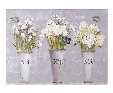 Lienzo Macetas, blanco y gris - 100x75 cm