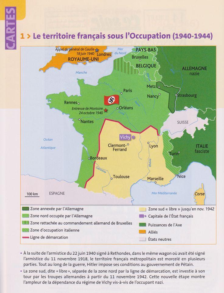 PBacPro-H4 : Carte du territoire français sous l'Occupation allemande pendant la Seconde Guerre mondiale. (Source : votre manuel Hachette technique)