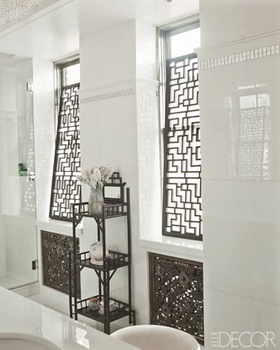 fretwork panels screening master bathroom windows