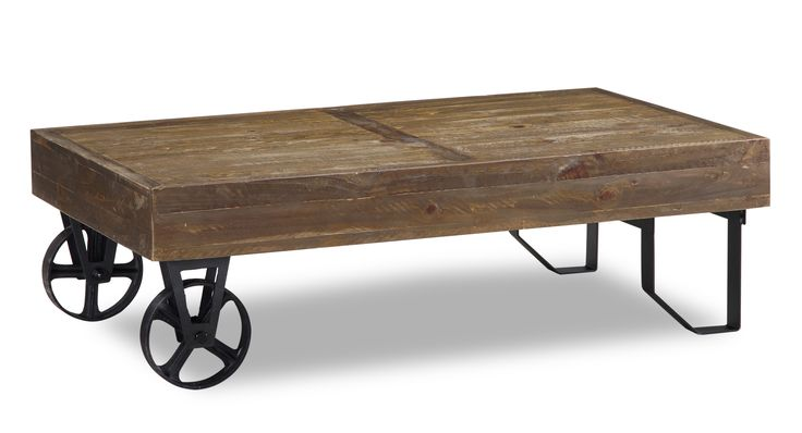 Rustic with some nice industrial accents, the Dupont Collection is a great blend of styles for your eclectic living room. With two metal wheels and two uniquely