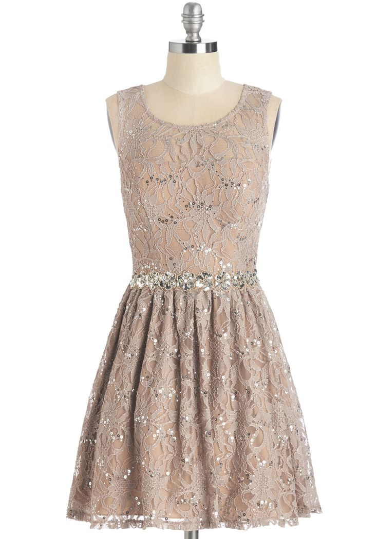 Song And Radiance Dress. Under the lights of the dance floor, your smile sparkles as brilliantly as does this lace dress. #tan #prom #modcloth