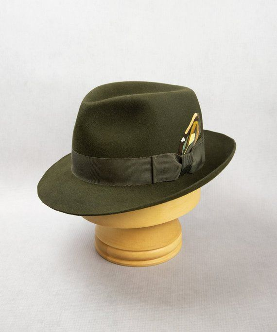 e01357b7d971 Men's Loden Green Fedora. Fur felt men's hat with removable feather. Size 7  3/8. One of a kind hat by Silverhill Creative Millinery. #fedora