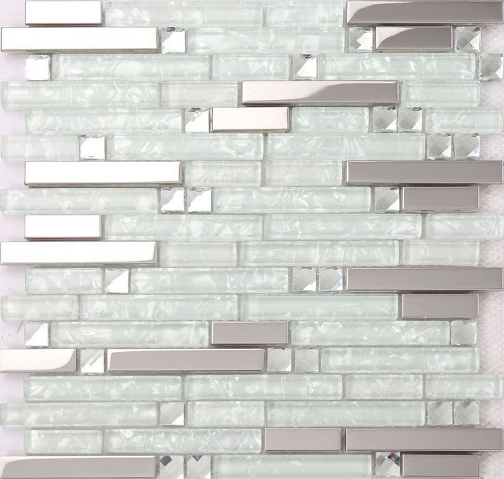 strip silver stainless steel mixed clear glass mosaic tiles for kitchen backsplash bathroom wall shower tiles hallway tiles