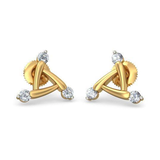The Ultra Modern Earrings | Diamond Earring In 18Kt Yellow Gold