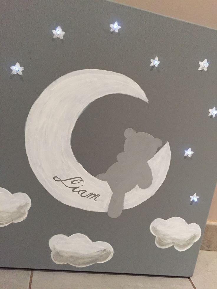 Toile lumineuse ourson assis sur la lune