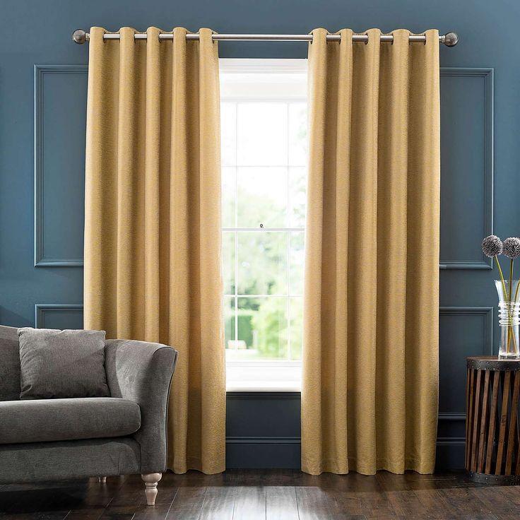 Sarasota Yellow Jacquard Eyelet Curtains | Dunelm