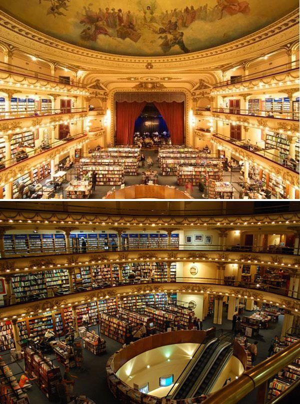 You're looking at the Librería El Ateneo Grand Splendid, a 1920s theater in Argentina that has been converted into the fanciest bookstore in exsistence. The theater boxes now serve as quiet reading rooms, and as one of the busiest bookshops in the country, the selection is incredible.