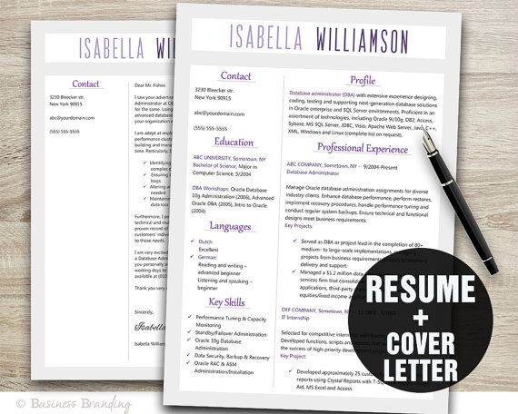 business resume template instant download resume template