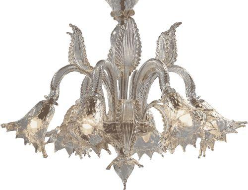 #lampadario #vetro #murano. Lampadario in vetro di murano trasparente e oro. Sistema con 6 luci. H. 75 cm – ø. 80 cm. Disponibili su richiesta varianti di dimensioni e colori. www.danielebiasin.it/portfolio-items/lampadario-in-vetro-di-murano-trasparente-e-oro-2/