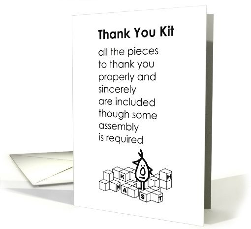 Thank You Kit - a funny thank you poem card (1408992)