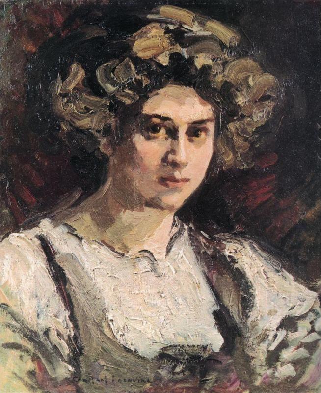 Konstantin Korovin (Russian 1861–1939) [Impressionism, Art Nouveau] Portrait of Nadezhda Komarovskaya, 1910.