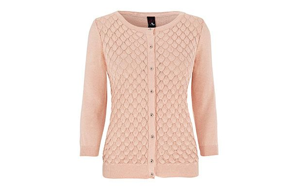 "Pink Stitch Cardigan. ""This sweet blush pink cardigan will brighten every morning with its stitch details and ladylike buttons."""