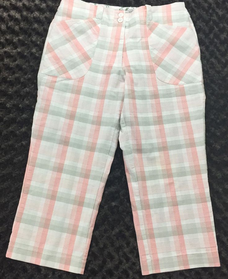 Nike Golf Women's Capris Crop Pants Checkered Plaid Pink Gray White Size 8 #Nike