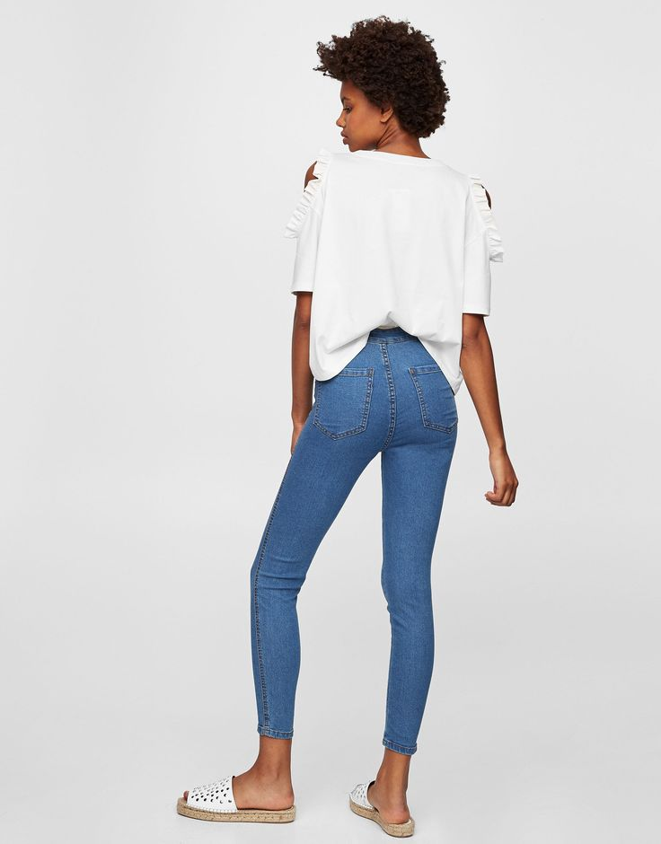 High-waisted skinny jeans - Jeans - Denim - HIDDEN - PULL&BEAR Czech Republic