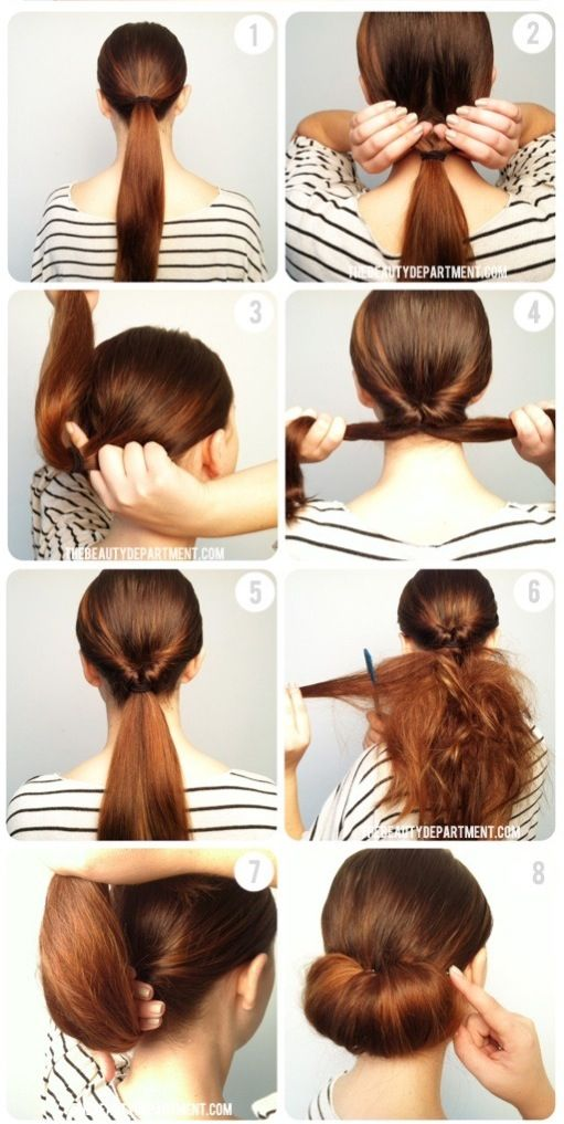 Tuto coiffure chignon bas gonflé Coiffure Pinterest
