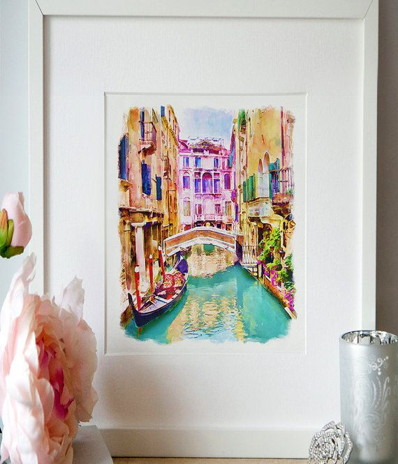 Venice Canal Watercolor painting Wall art Venice by Artsyndrome