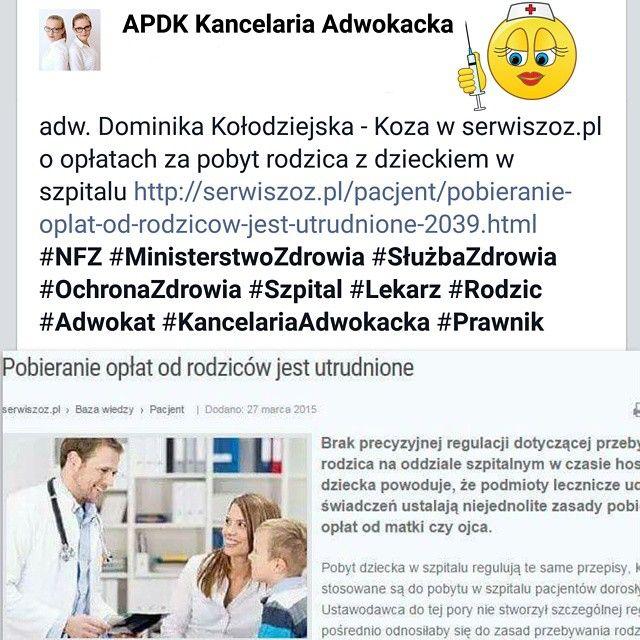 Adwokat Dominika Kołodziejska - Koza w serwiszoz.pl o opłatach za pobyt rodzica z dzieckiem w szpitalu.  #prawnik #pacjent #lekarz #lekarze #artykuł #tekst #wiedza i #praktyka #ochronazdrowia #służbazdrowia #nfz #zarządzanie #zdrowie #szpital #dziecko #rodzic #leczenie #warszawa #polska #prawo #prawomedyczne #law
