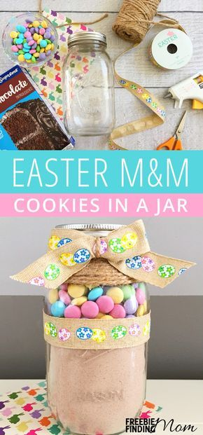 Diy easter gifts for friends 25 easy easter cookies homemade easter mm cookies in a jar negle Image collections