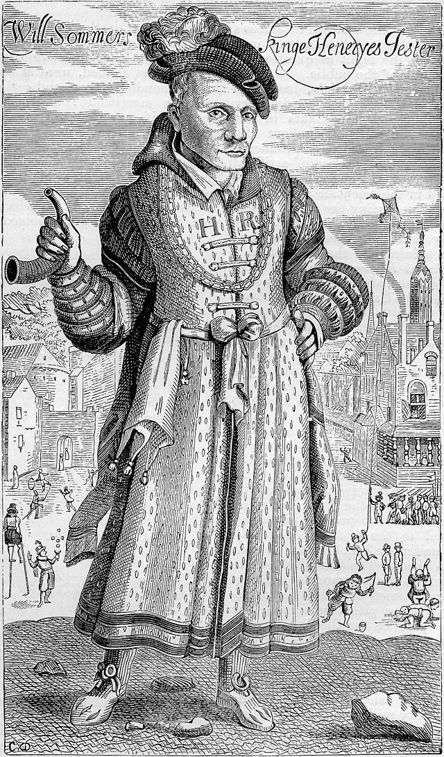 Engraving of Will Sommers by Francis Delaram c. 1615–24. Sommers was the best-know court jester of Henry VIII. He remained in the king's service for the rest of Henry's life. The jester was also a man of integrity and discretion. Thomas Cromwell appreciated that he sometimes drew the King's attention to extravagance and waste within the royal household by means of a joke.