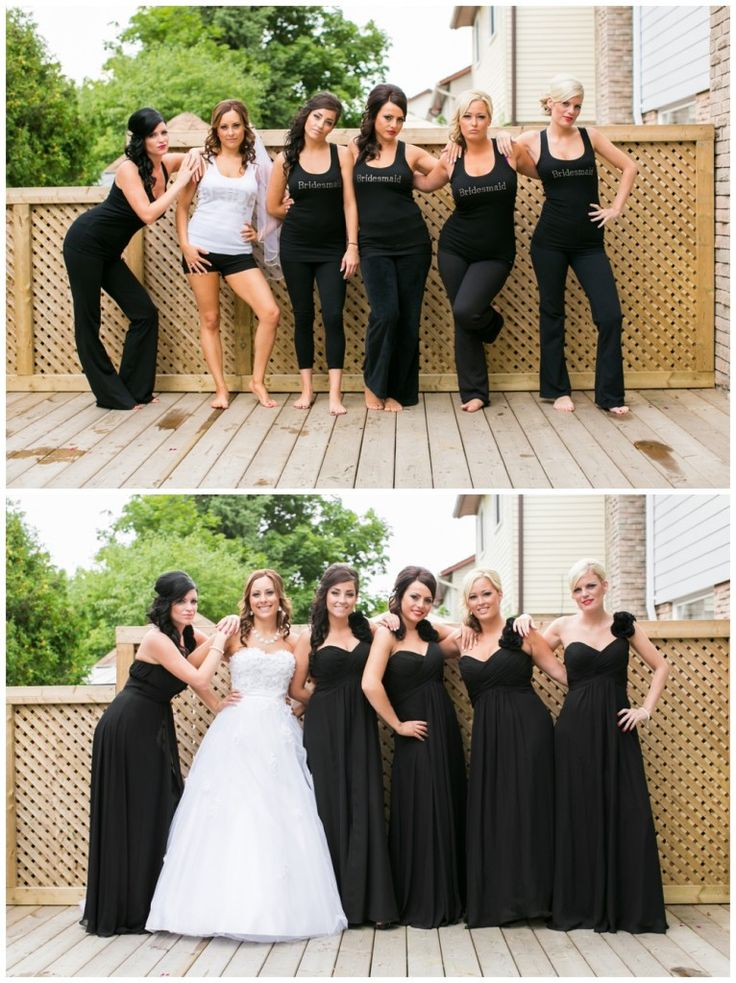 Such a fun before and after photo with the bridal party!