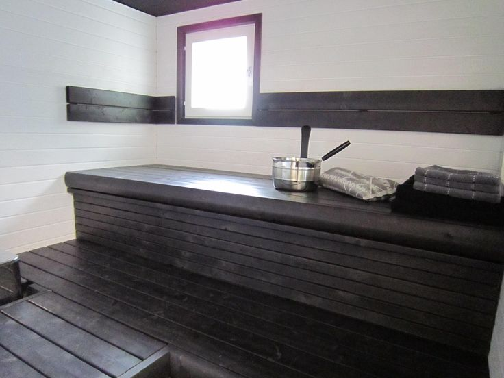 Dare and try new colors. Sauna with black and white. NO NEED FOR SAUNA BUT LOVE THIS SPACE