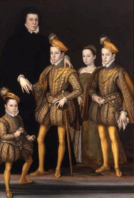 .:. Catherine de' Medici with her four youngest children, Hercule-Francis, Charles IX., Marguerite and Henry III. (from left to right), c. 1561