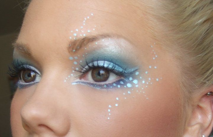 Whimsical blue eye makeup - swirling dots and graceful flourishes.