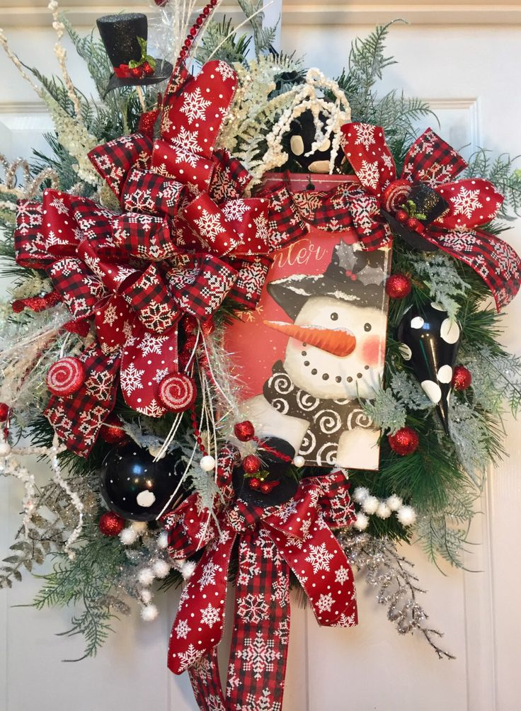 Black, Red and White Snowman Winter Christmas Pine Wreath by WilliamsFloral on Etsy https://www.etsy.com/listing/482105583/black-red-and-white-snowman-winter